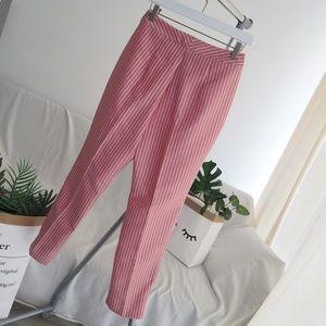 Wayf Pants - NWOT WAYF Pink Striped Piper High Waist Crop Pants